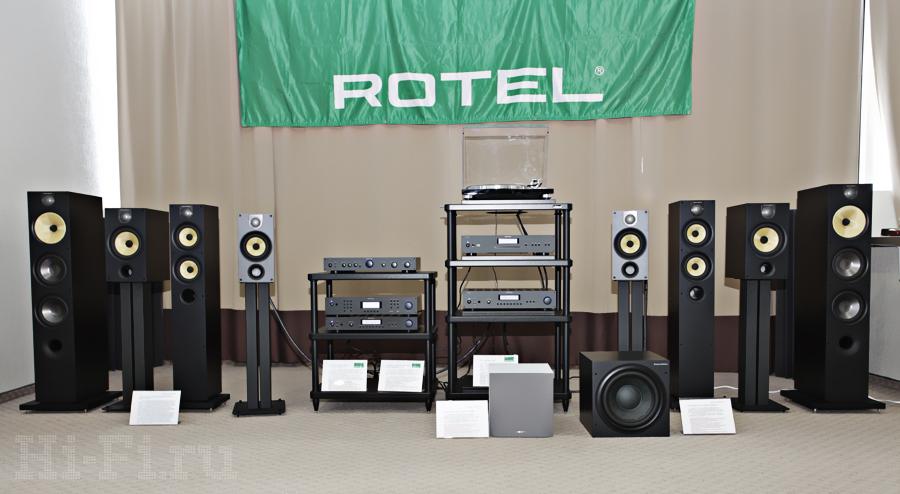 Популярные акустические системы B&W серии 600 демонстрировались с электроникой от Rotel