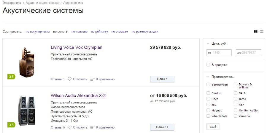 Топовая акустика на Яндекс.Маркет