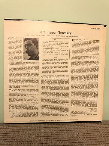 Art Pepper ‎– Intensity, Near Mint
