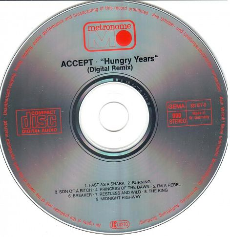 cd  Accept  ‎– Hungry Years  1987